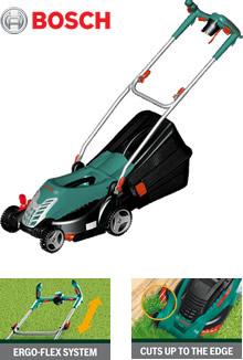 bosch rotak 34 ergoflex lawnmower 34cm. Black Bedroom Furniture Sets. Home Design Ideas